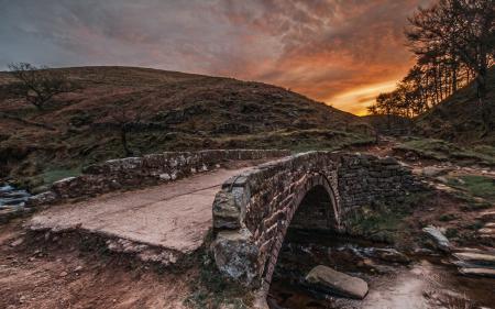Фото закат, мост, река, пейзаж