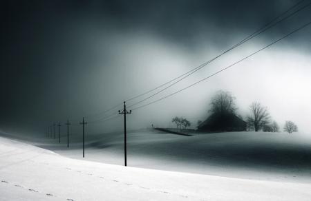 Фото зима, снег, дом, лэп