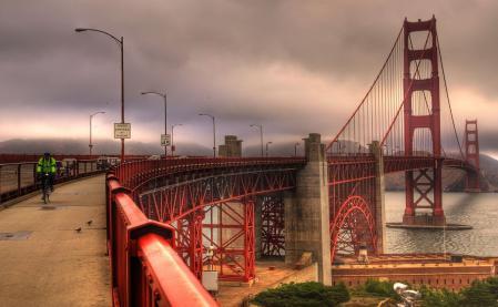 Фотографии мост, дорога, река, фонари