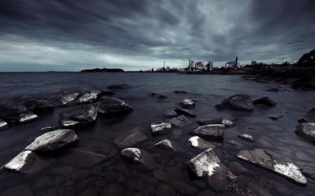 Картинки ночь, море, берег, пейзаж