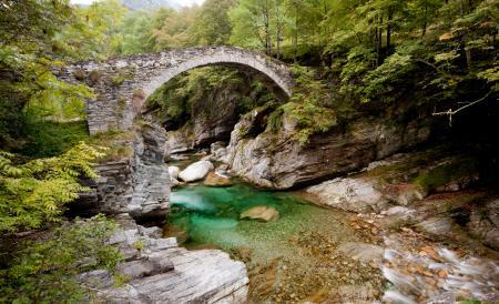 Заставки река, горы, мост, пейзаж