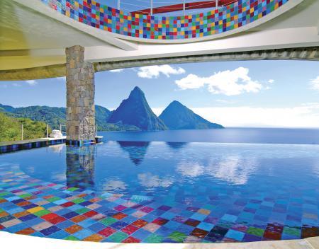 Обои океан, горы, бассейн, вид