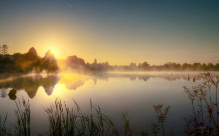 Картинки утро, озеро, туман, пейзаж
