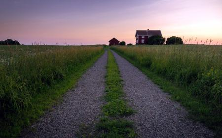 Обои дорога, поле, дом, закат