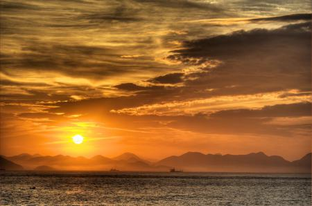 Фото закат, море, горы, вода