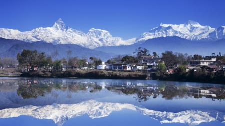 Фотографии Непал, горы, дома, озеро