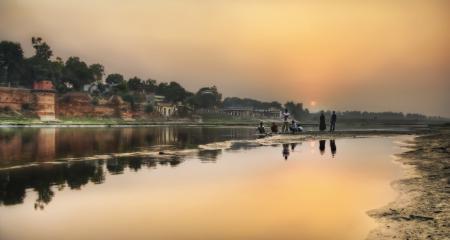 Заставки индия, закат, люди, река