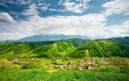 Обои горы, долина, дома