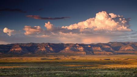 Обои горы, долина, закат, облака
