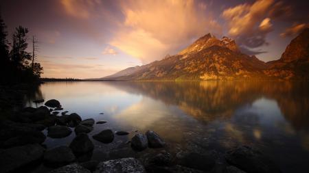 Картинки рассвет, горы, озеро, камни