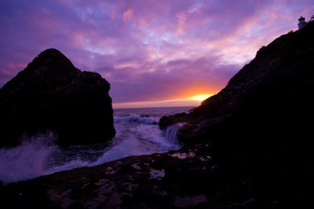 Картинки море, волны, закат, скалы