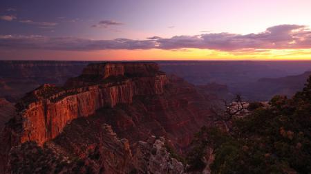 Обои каньон, горы, высота, закат