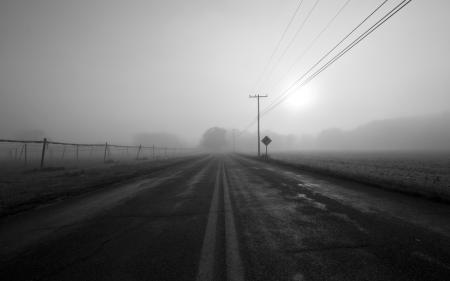 Картинки дорога, туман, дымка, столбы