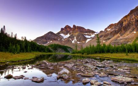 Фото канада, река, горы, камни