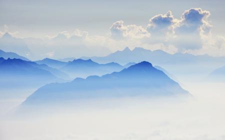 Фото горы, небо, мгла, природа