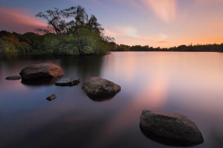 Обои озеро, ночь, природа, пейзаж