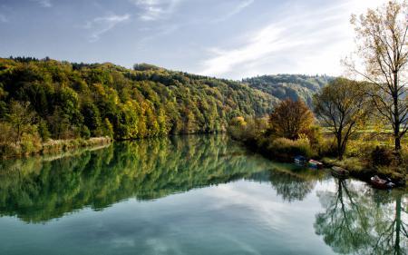 Фотографии река, лодки, зелень, вода