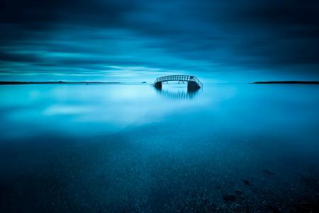 Фотографии озеро, мост, ночь, небо