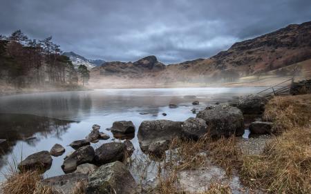 Заставки утро, туман, озеро, пейзаж