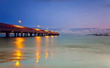 Фотографии море, пирс, вечер, огни