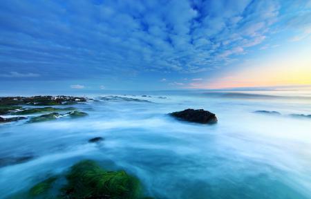 Картинки море, небо, облака, цапля