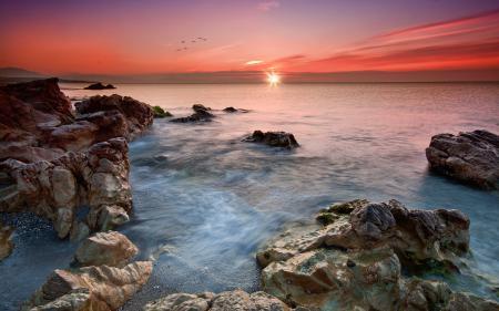 Фото небо, море, закат, камни