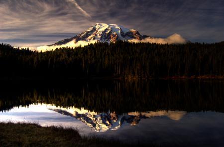 Картинки гора, лес, небо, озеро