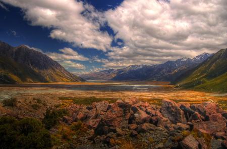 Картинки горы, долина, камни, новая зеландия