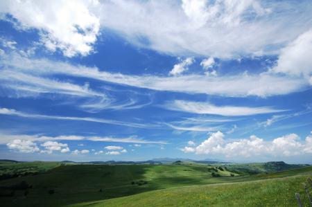 Картинки небо, облака, долина, поля