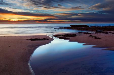 Обои небо, закат, пляж, море