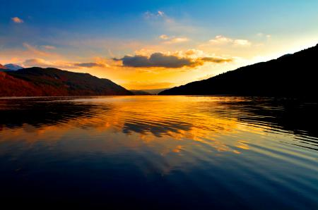 Обои закат, небо, гора, вода