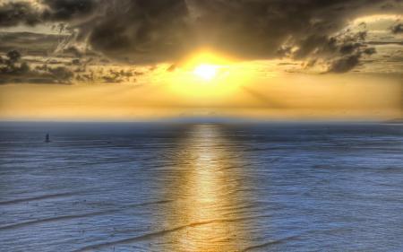 Обои солнце, море, яхта
