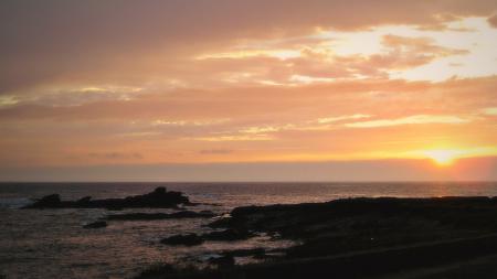 Фото берег, закат, солнце, прибой