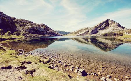 Обои Горы, Скалы, Природа, Озеро