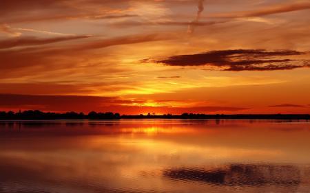 Заставки закат, вода, озеро, пейзаж