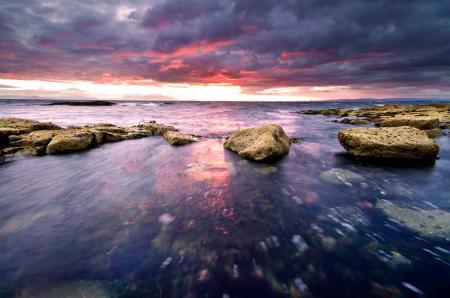 Фотографии море, небо, камни, закат
