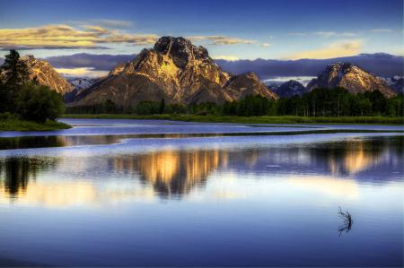 Обои горы, лес, вода, небо