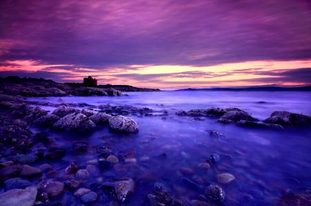 Фотографии закат, море, берег, камни