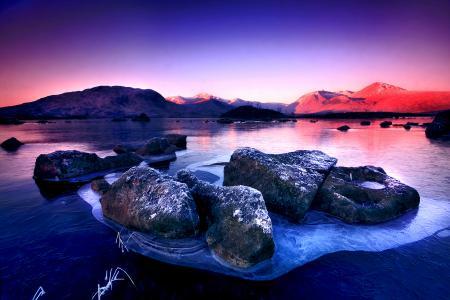 Картинки горы, камни, утро, закат