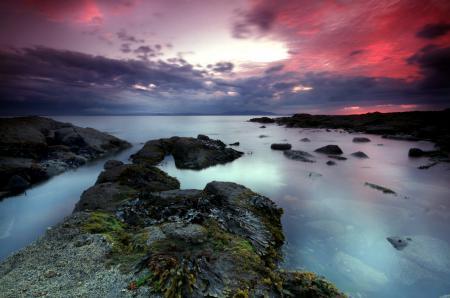 Фото море, камни, закат