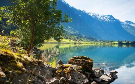 Фотографии горы, небо, озеро, берег