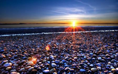 Картинки море, берег, камни, горизонт