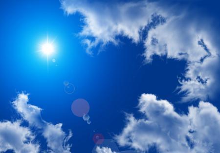 Картинки Небо, облака, солнце, блики