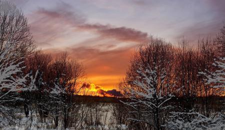 Заставки Зима, снег, вечер, закат