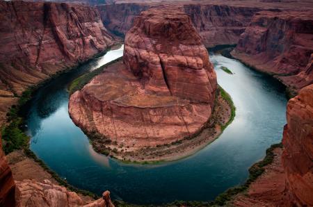 Обои природа, каньон, река, подкова