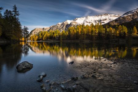 Заставки природа, озеро, деревья, осень