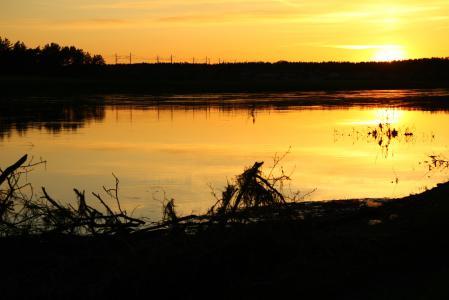 Обои пейзаж, природа, река, вечер