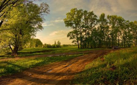 Заставки лето, поле, дорога, деревья