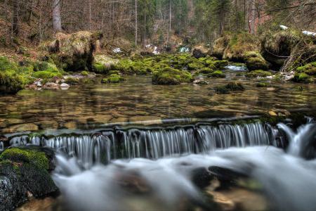 Обои природа, река, вода, водопад