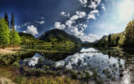 Обои mountains, water, reflection, cloud
